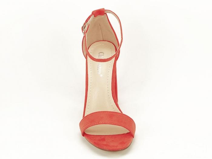 Sandale portocalii dama cu toc inalt Mathilde 2 3