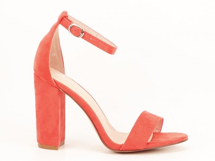 Sandale portocalii dama cu toc inalt Mathilde 2 2