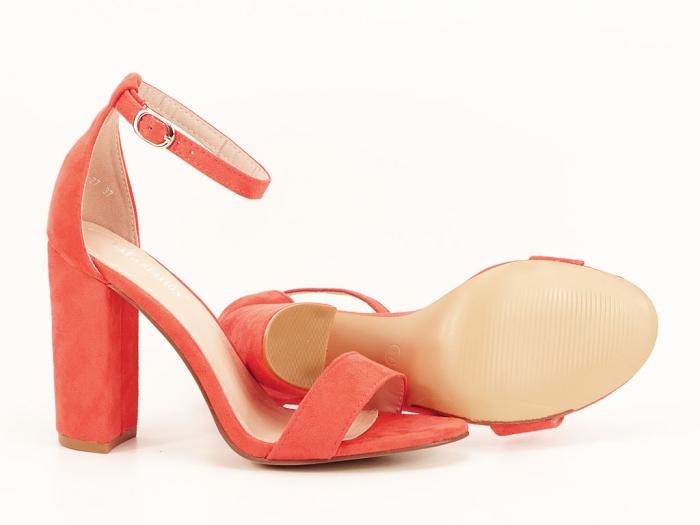 Sandale portocalii dama cu toc inalt Mathilde 2 5