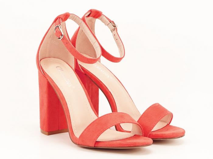 Sandale portocalii dama cu toc inalt Mathilde 2 0