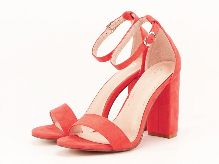 Sandale portocalii dama cu toc inalt Mathilde 2 7