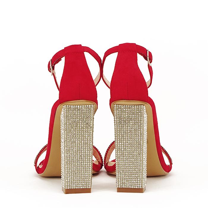 Sandale rosii cu pietricele Agness 6