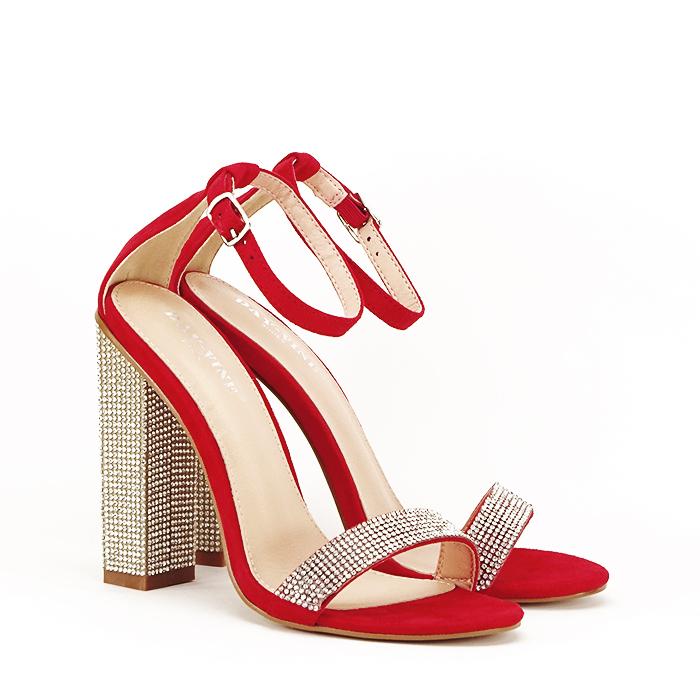 Sandale rosii cu pietricele Agness 2