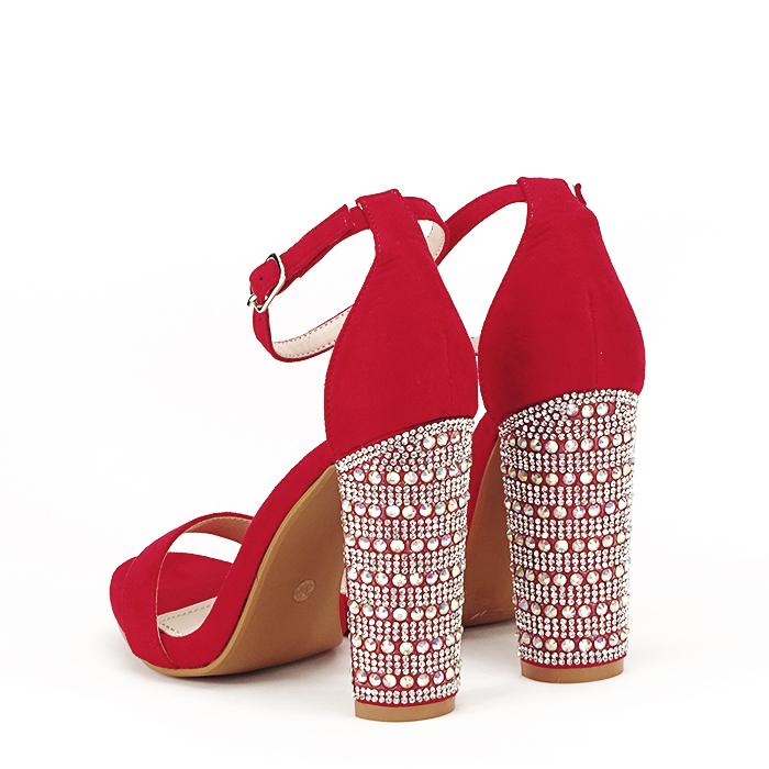 Sandale rosii cu pietricele pe toc Cleopatra [4]