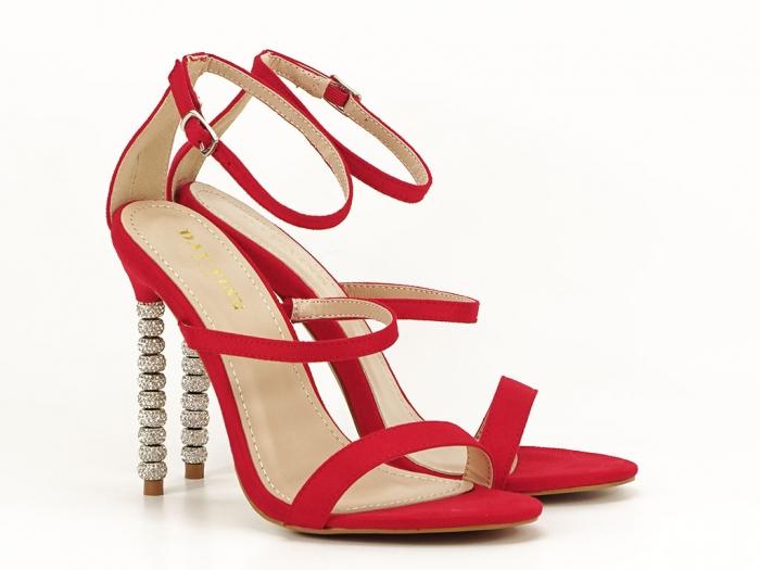 Sandale rosii elegante cu toc inalt Delia 2