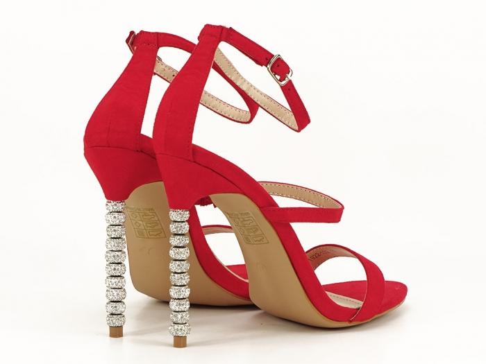 Sandale rosii elegante cu toc inalt Delia 0