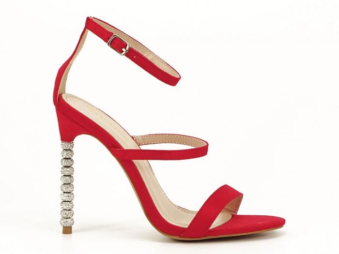 Sandale rosii elegante cu toc inalt Delia 1