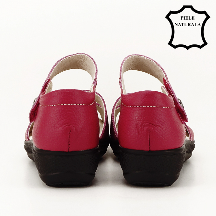 Sandale rosii din piele naturala Agata 4