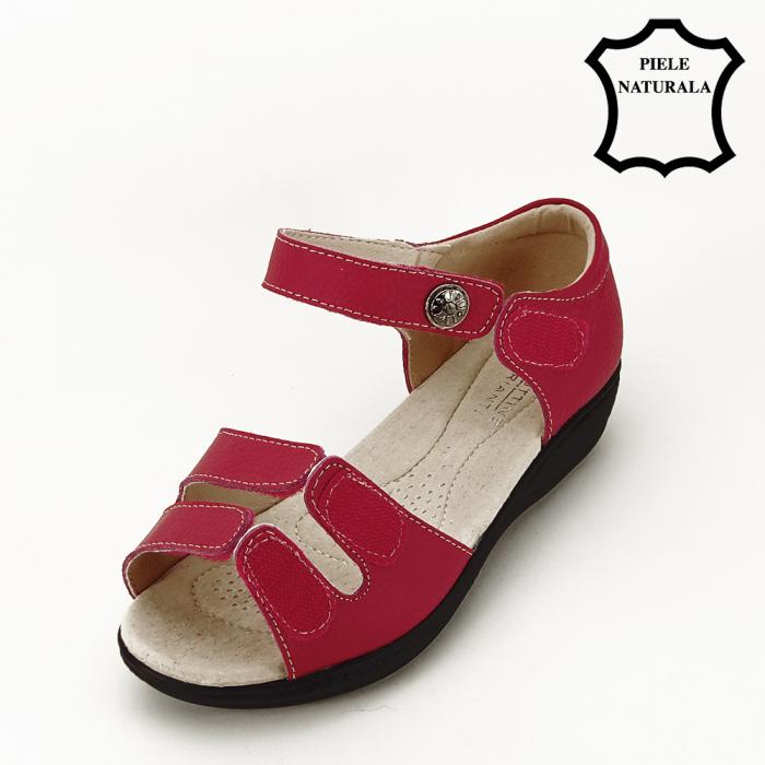 Sandale rosii din piele naturala Agata 5