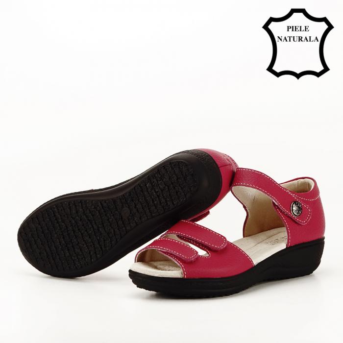 Sandale rosii din piele naturala Agata 8