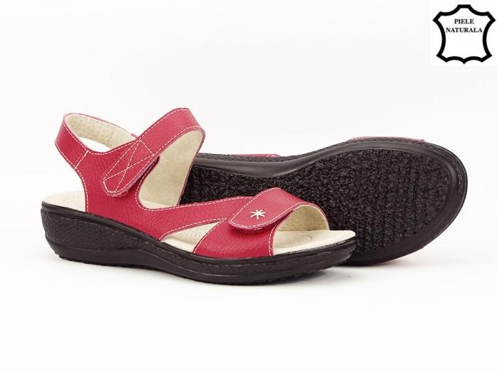 Sandale dama rosii din piele naturala Sara 5