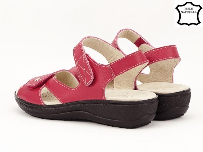 Sandale dama rosii din piele naturala Sara 2