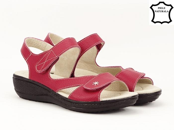 Sandale dama rosii din piele naturala Sara 1