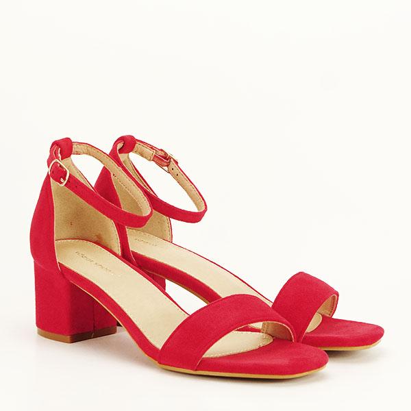 Sandale rosii din velur Lorena [2]