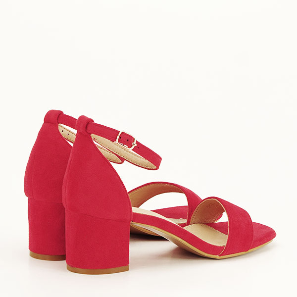 Sandale rosii din velur Lorena [4]