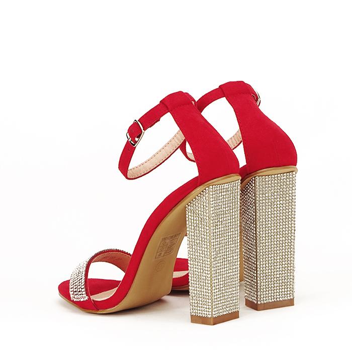 Sandale rosii cu pietricele Agness 4