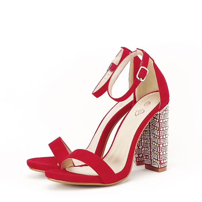 Sandale rosii cu pietricele pe toc Cleopatra [1]