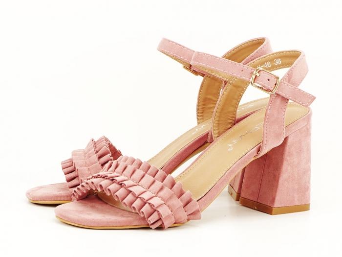Sandale cu volanase roz somon cu toc gros Beatrice 3