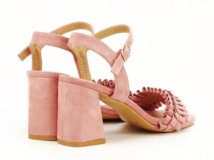 Sandale cu volanase roz somon cu toc gros Beatrice 5