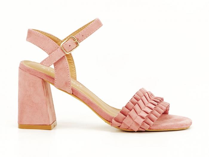 Sandale cu volanase roz somon cu toc gros Beatrice 0