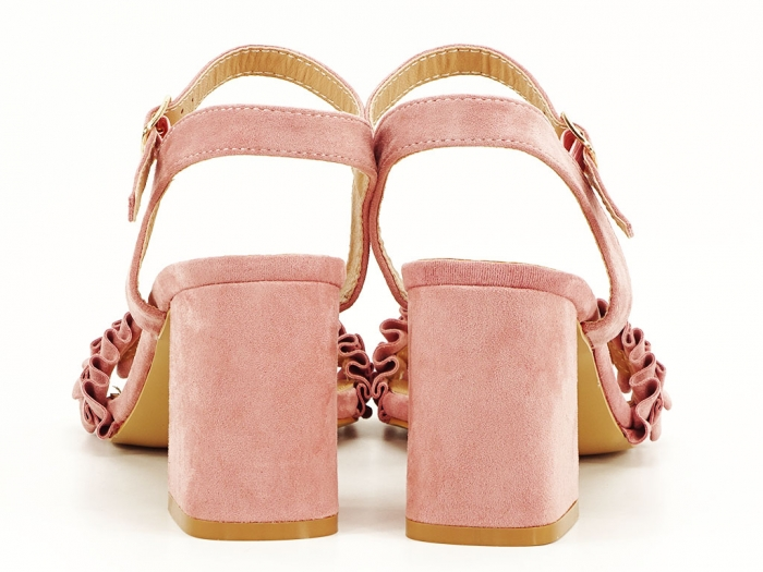 Sandale cu volanase roz somon cu toc gros Beatrice 6