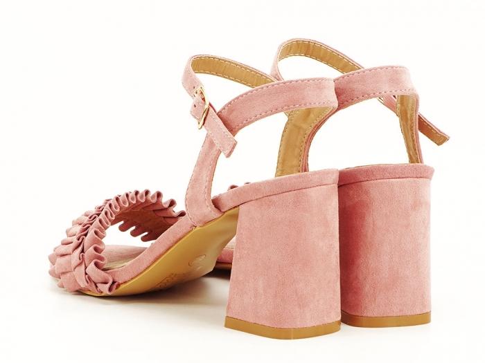 Sandale cu volanase roz somon cu toc gros Beatrice 2
