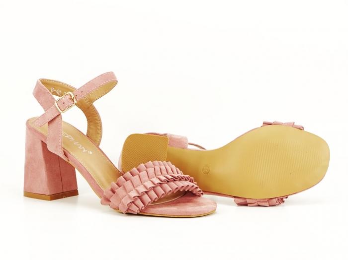 Sandale cu volanase roz somon cu toc gros Beatrice 4