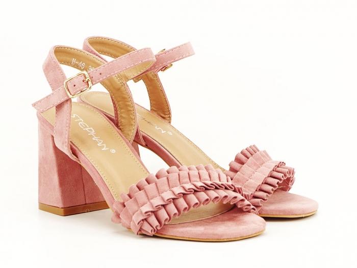 Sandale cu volanase roz somon cu toc gros Beatrice 1
