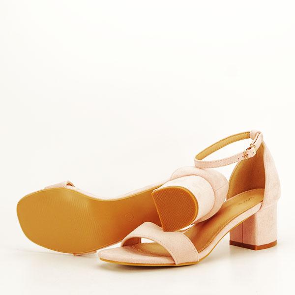 Sandale roz deschis din velur Lorena [6]