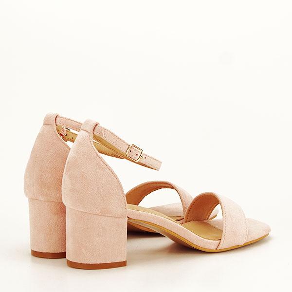 Sandale roz deschis din velur Lorena [4]