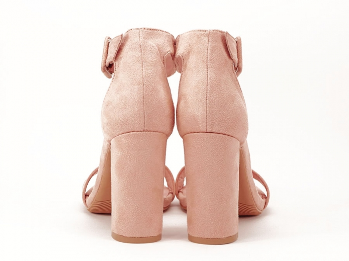 Sandale elegante roz pudra cu toc gros Joalice