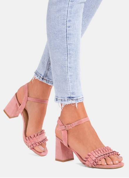 Sandale cu volanase roz somon cu toc gros Beatrice 7