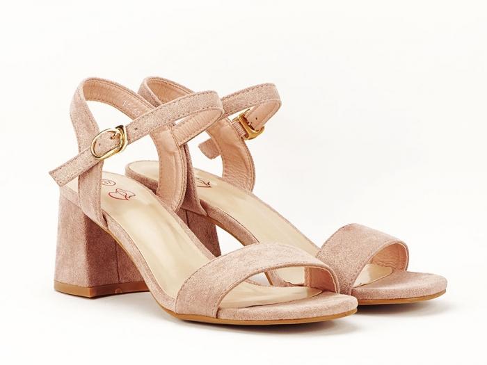 Sandalele roz somon cu toc mic Anita 1