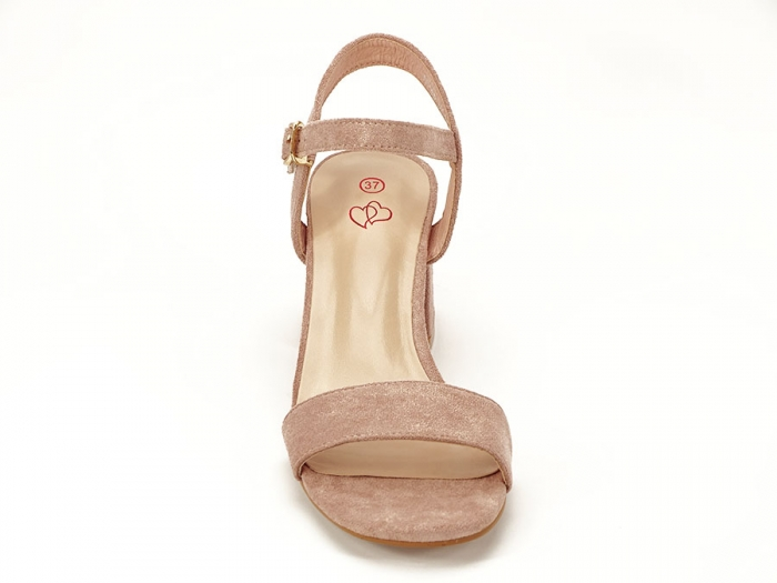 Sandalele roz somon cu toc mic Anita 2