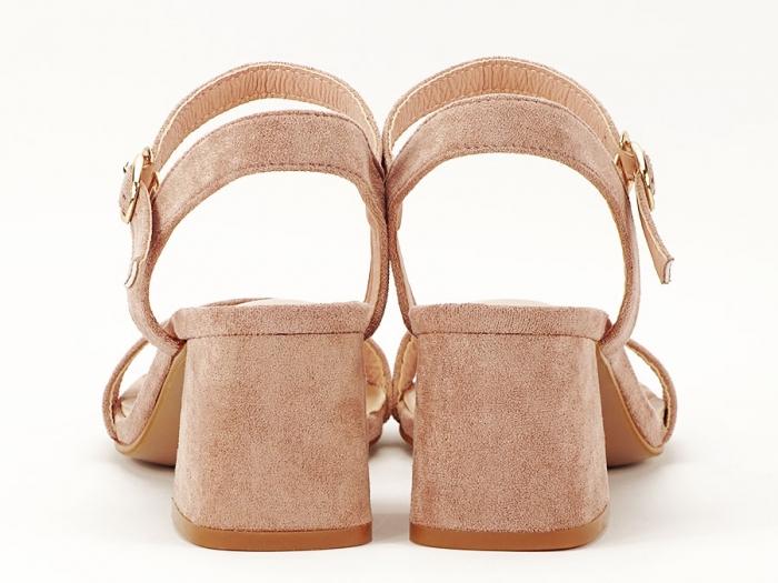 Sandalele roz somon cu toc mic Anita 6