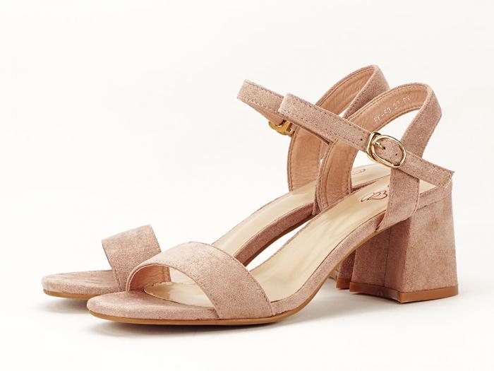 Sandalele roz somon cu toc mic Anita 3