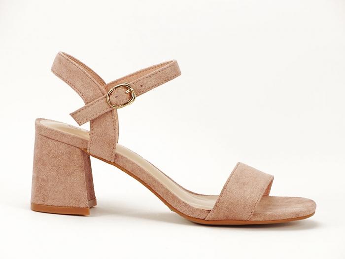 Sandalele roz somon cu toc mic Anita 0