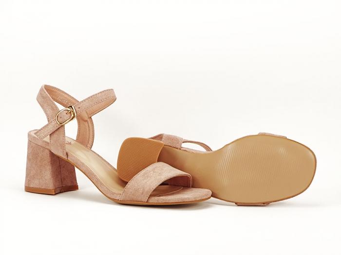 Sandalele roz somon cu toc mic Anita 7