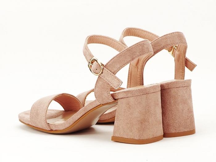 Sandalele roz somon cu toc mic Anita 4