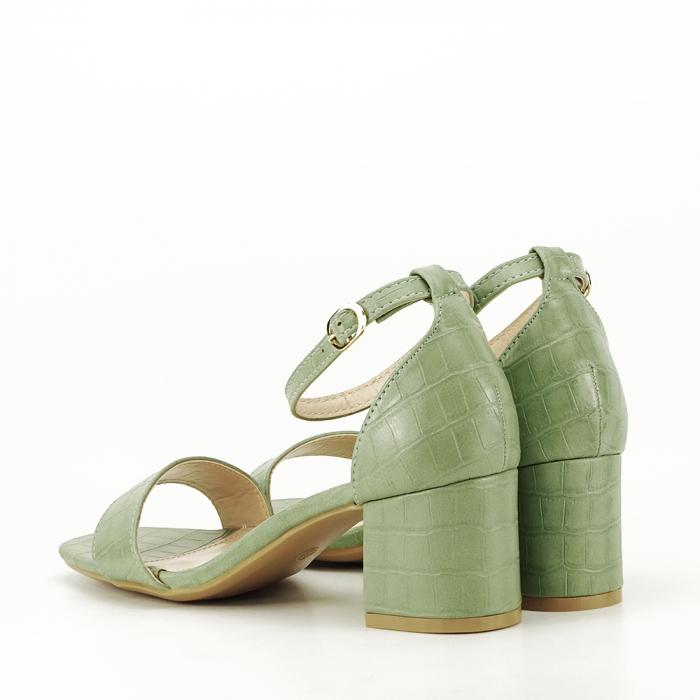 Sandale verde fistic cu toc gros Bella 6