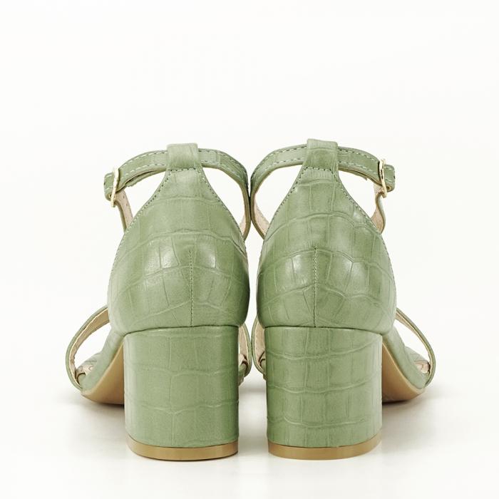 Sandale verde fistic cu toc gros Bella 4