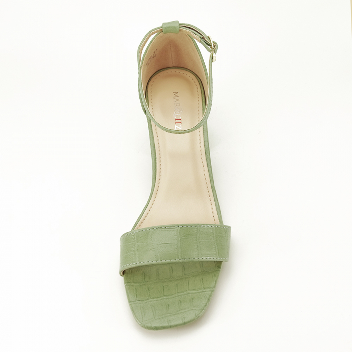 Sandale verde fistic cu toc gros Bella 3