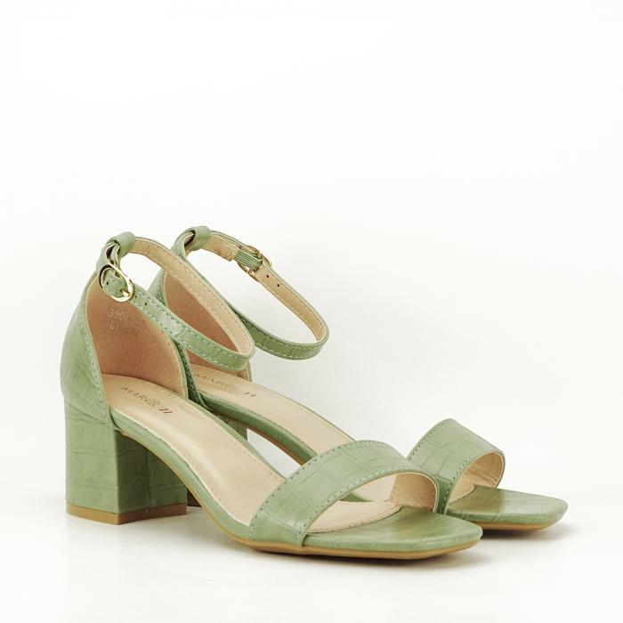 Sandale verde fistic cu toc gros Bella 5