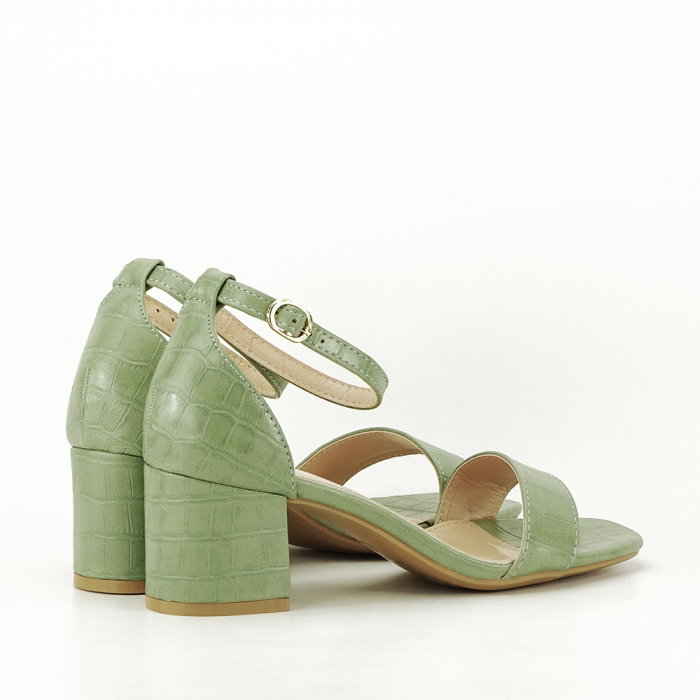 Sandale verde fistic cu toc gros Bella 2