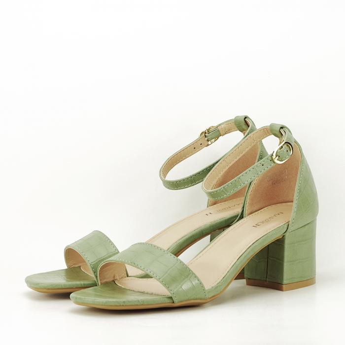 Sandale verde fistic cu toc gros Bella 1