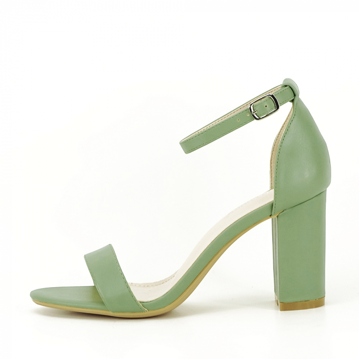 Sandale verde fistic cu toc gros Ingrid [0]
