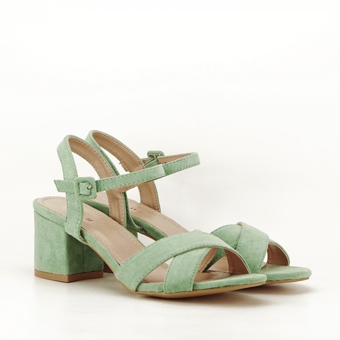 Sandale verde fistic cu toc mic Natalia 4