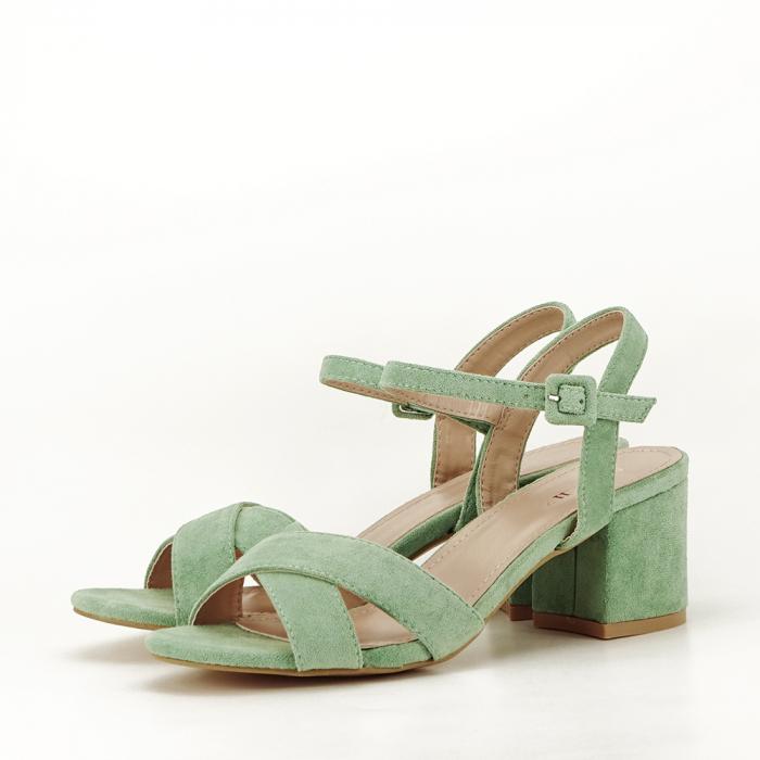 Sandale verde fistic cu toc mic Natalia 1