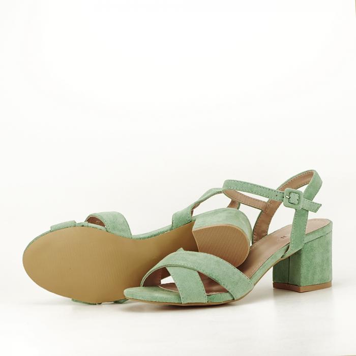Sandale verde fistic cu toc mic Natalia 6