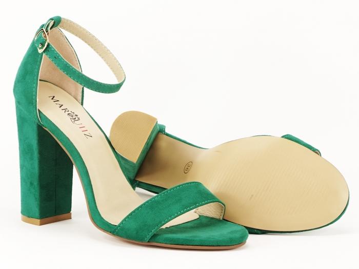 Sandale dama verzi cu toc gros si bareta Mathilde 1